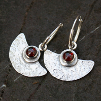 Silver and Garnet Blade earrings