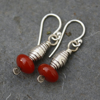 silver and carnelian earrings, Tribe , Sale