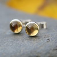 Small citrine stud earrings sterling silver , gemstone studs