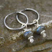 Blue flash Labradorite and silver earrings