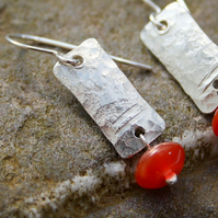Notched silver and carnelian earrings