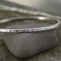 Silver Bangle  ,patterned oval bangle