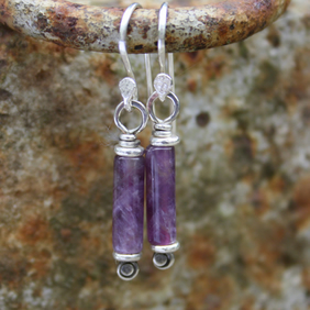 Silver and Amethyst earrings Scrolls