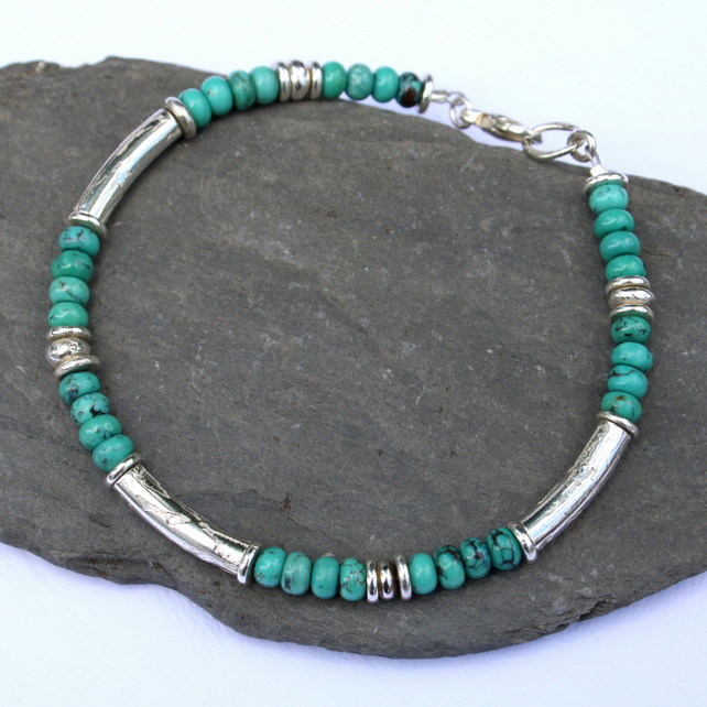 Silver and turquoise Macaroni bracelet