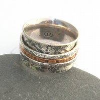 Silver and copper spinner ring
