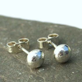 sterling silver nugget studs , small studs