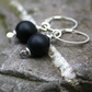 Frosted onyx sterling silver earrings