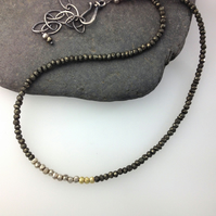 Pyrite ,Silver and 18ct gold neclace.