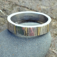Inlaid Ring , silver and 18ct gold ladies or mens