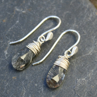Silver wrapped rutilated quartz earrings