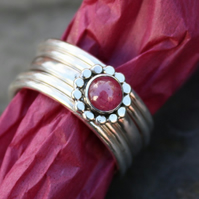 Sterling silver and ruby flower stacking rings