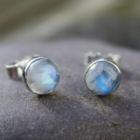 moonstone stud earrings sterling silver , gemstone studs