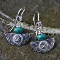 Ulu  , handmade silver and turquoise earrings