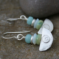 Ulu  , handmade silver and peruvian opal earrings