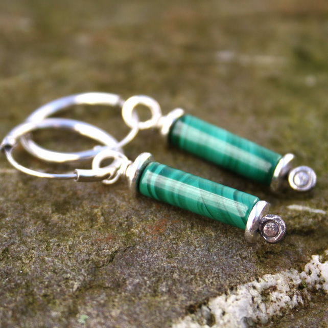 Silver and Malachite earrings Scrolls