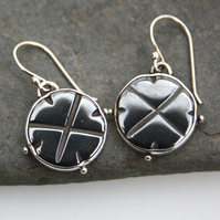 Silver and haematite earrings