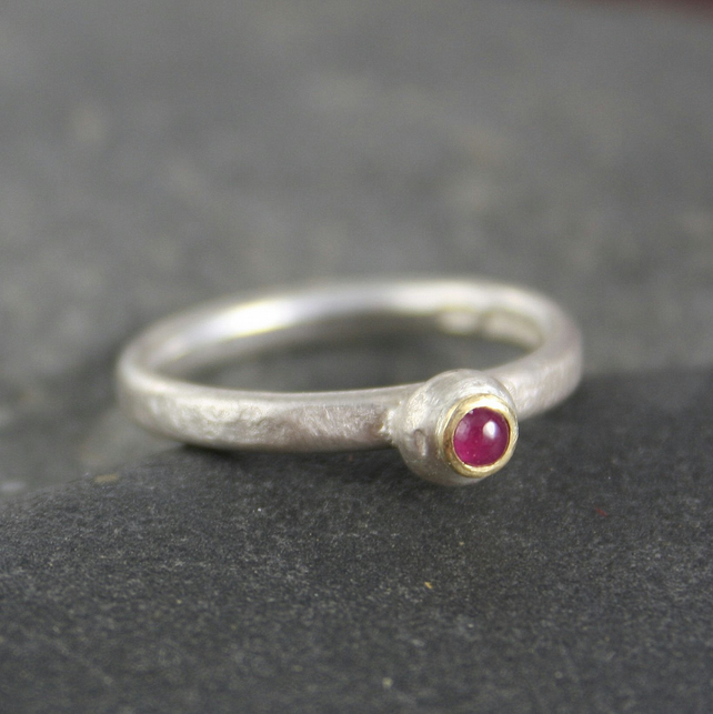Ruby ring silver and 18ct gold Pebble ring