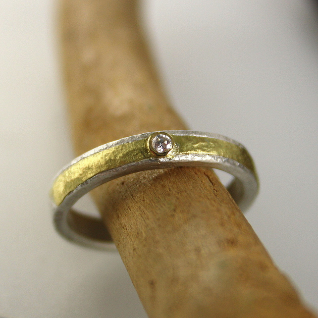 Diamond ring silver and 18ct gold