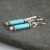 Scrolls turquoise silver earrings