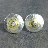 Diamond earrings , frosted silver and gold stud earrings