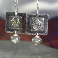 Silver and labradorite spiral earrings