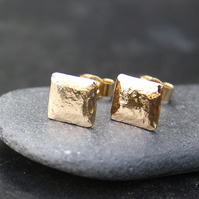 Gold square stud earrings 9ct