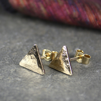 Gold triangle stud earrings 9ct