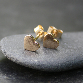 Tiny Gold heart stud earrings 9ct