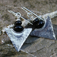 Silver and onyx tribal earrings