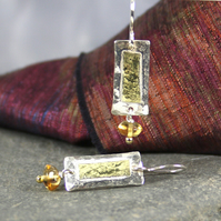 Silver ,18ct gold and Citrine rectangular earrings.