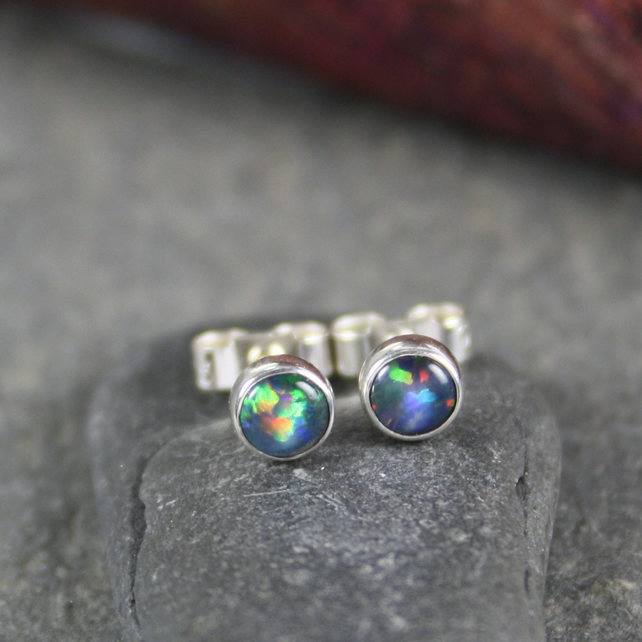 Opal stud earrings sterling silver, gemstone studs