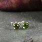 Peridot stud earrings sterling silver , gemstone studs