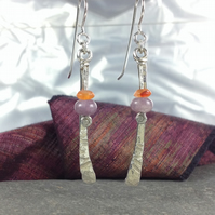 Silver lepidolite and carnelian long dangly earrings