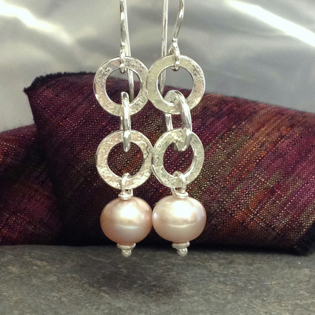 Silver and dusky pink Pearl earrings