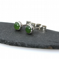 Green jade stud earrings , sterling silver