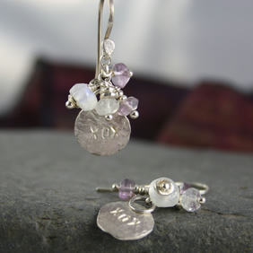 Silver moonstone and amethyst earrings -hugs and kisses