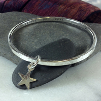 Personalised sterling silver charm bangle made to order heart or star or other