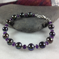 Silver ,peacock pearl and amethyst bracelet