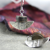 Silver and vintage coconut tribal blade earrings.