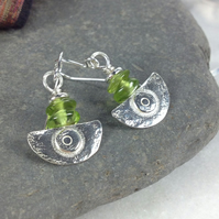Ulu  , handmade silver and Peridot  earrings