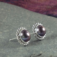 Silver and peacock pearl stud earrings