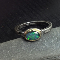 Silver 18ct gold and opal ring