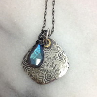 Silver ,18ct gold and labradorite Relic necklace