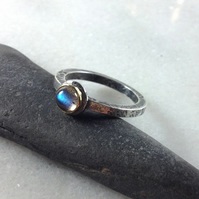 silver 18ct gold and labradorite Relic ring