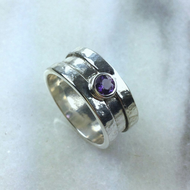 silver and Amethyst Rill ring