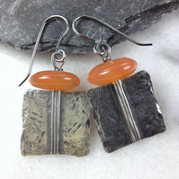 Carnelian and silver Core earrings