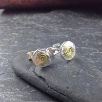 small silver and gold round Boss stud earrings