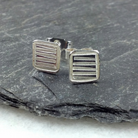 Small square silver stud earrings