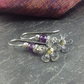 Sterling silver, gold and amethyst flower earrings