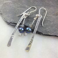 Silver labradorite and peacock pearl long dangly earrings